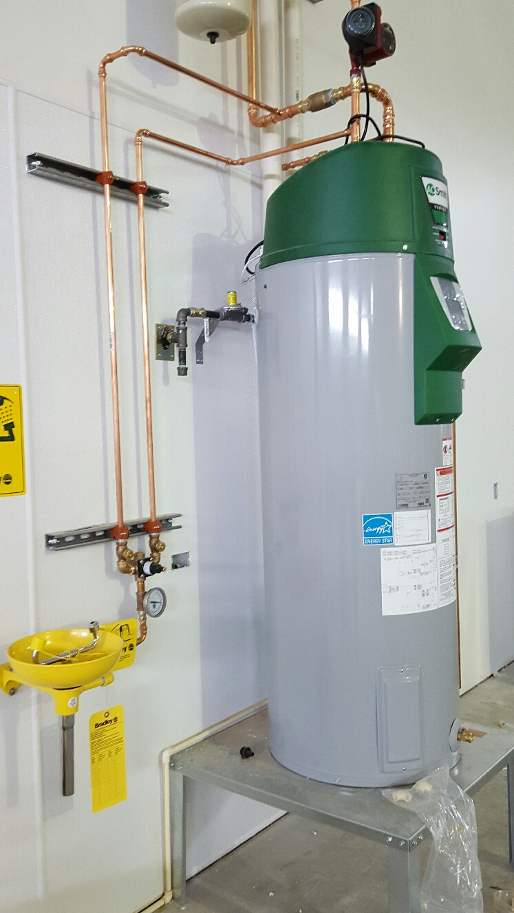 Water heater and eye wash station at MN DNR building