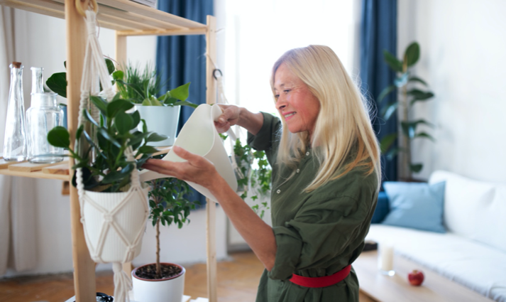 watering plants with filtered water